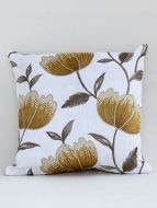 Crocus designer yellow  embroidered cushion cover