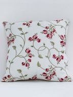 Ixora designer crimson embroidered cushion cover