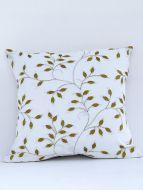 Leaf Designer Titanium embroidered Cushion Cover