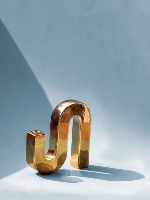 Ceramic Brillar Candle Holder Gold