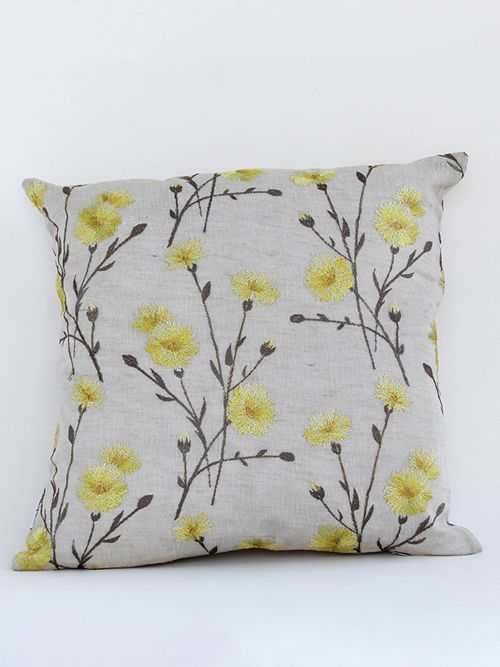 Dandelion designer multicoloured embroidered cushion cover