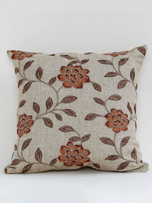 ORANGE EMBROIDERED FLORET CHIC COTTON CUSHION COVER