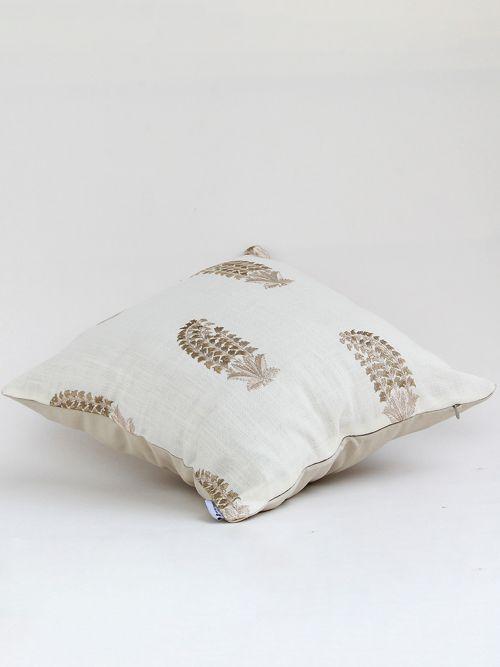 Elegante designer beige embroidered  cushion cover