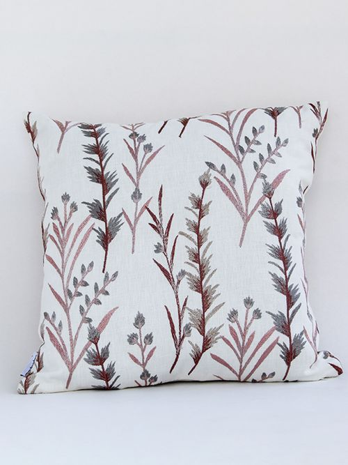 Fern Designer Copper Brown embroidered Cushion Cover