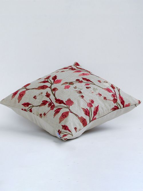 Flora Embroidered In Crimson - Cushion Cover