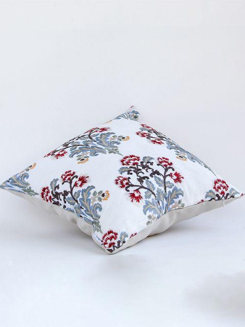 Floret designer multicolored embroidered cushion cover