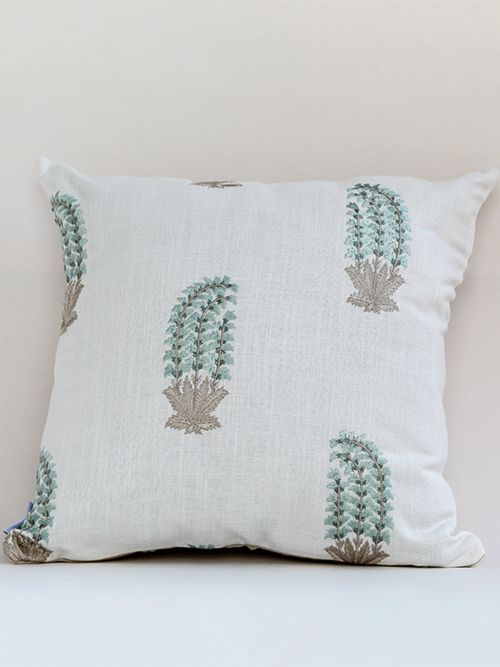 GREEN FLEUR EMBROIDERED CUSHION COVER