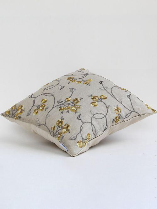 Lantana designer yellow embroidered cushion cover