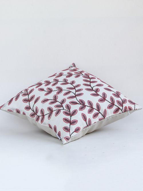Lowan Designer Red embroidered Cushion Cover