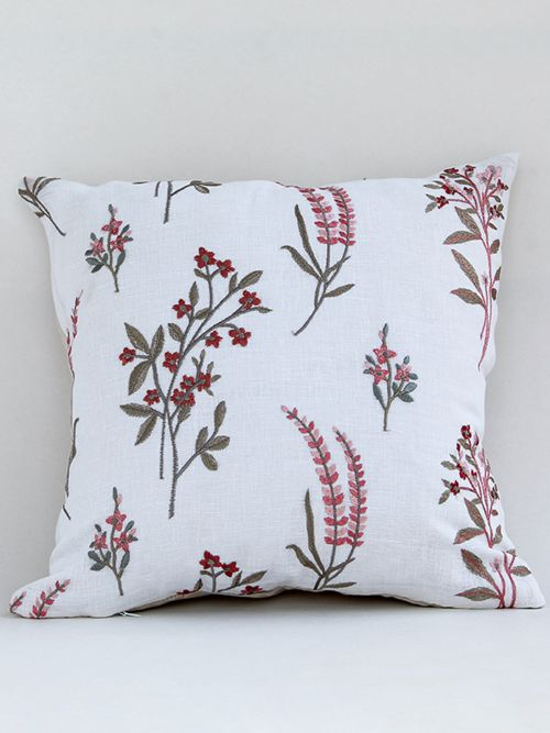 Lupine designer marmalade embroidered cushion cover