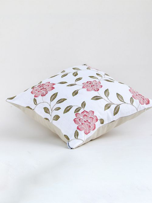 ORCHID DESIGNER RED EMBROIDERED COTTON CUSHION COVER
