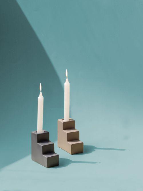 Pasos Candle Holder - LIGHT GREY