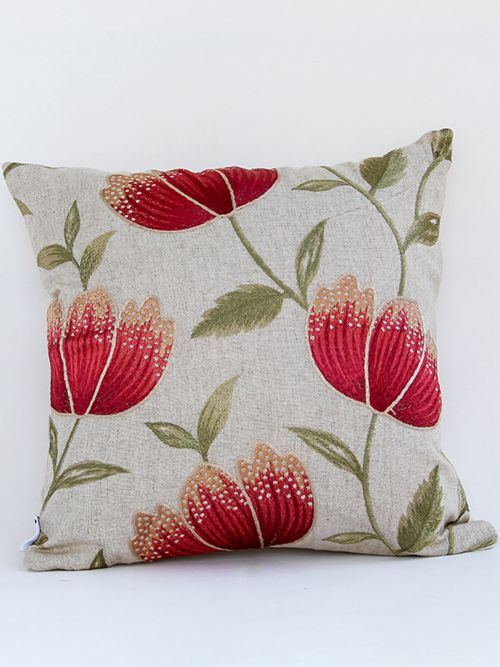 SANGUINE FLORAL EMBROIDERED CUSHION COVER
