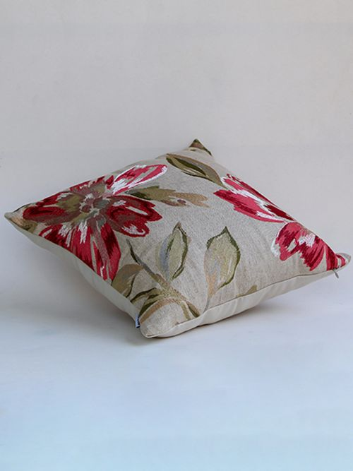 SCARLETT FLORID EMBROIDED RED CUSHION COVER