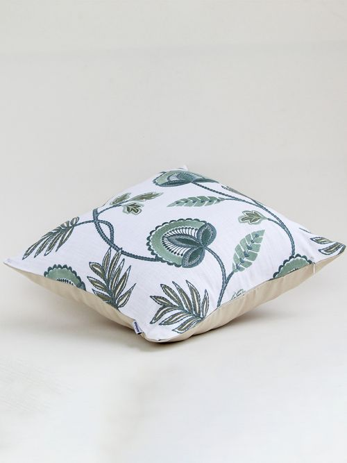 VERDANT CHIC EMBROIDERED CUSHION COVER