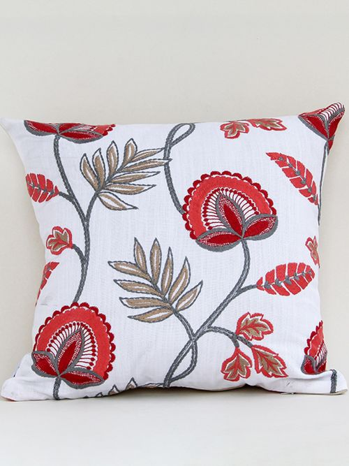 vermilion chic red embroidered cushion cover